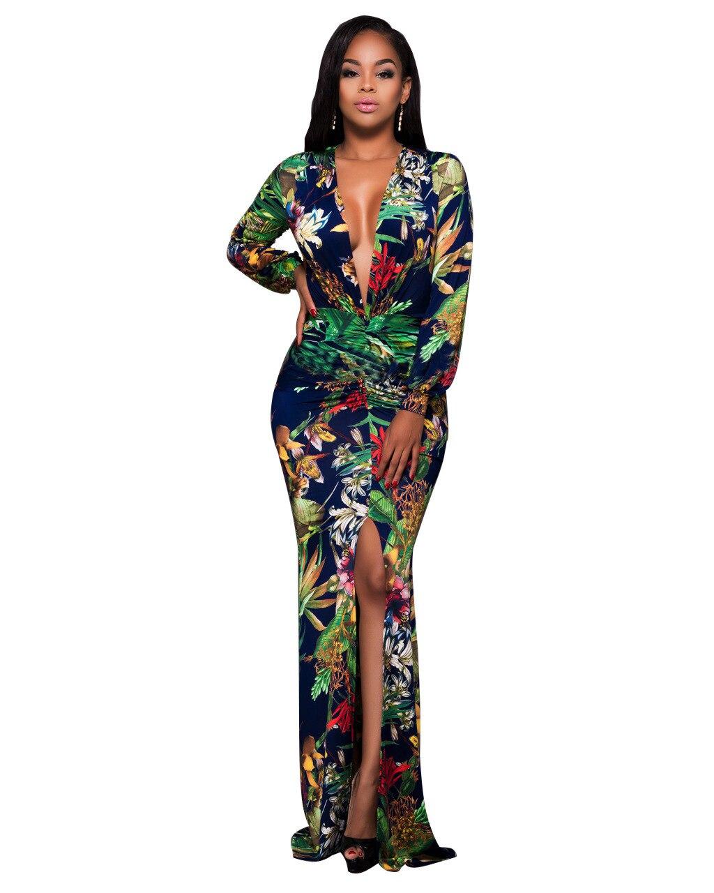 Новые дешевые платья Австралии плюс Размеры зеленые листья Макси платье женщина Мода одежда с принтом Vestido Invierno Mujer распродажа платья