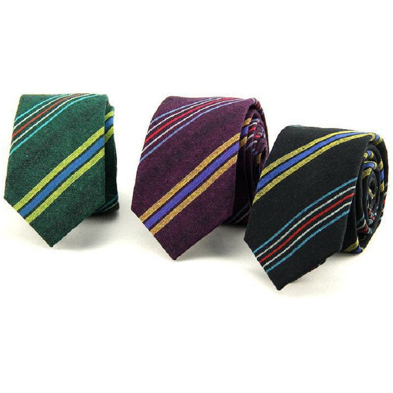 mens necktie 6cm cotton strips ties jacquard skinny neck tie for men leisure business neckwear