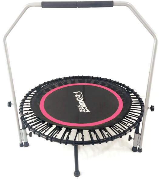 Fitness bungee trampoline rebounder with stability bar-in