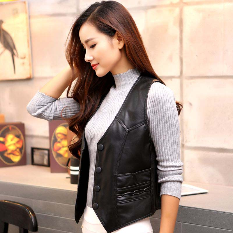 Autumn Winter New Fashion Warm Elegant Leisure Vest Womens OUTWEAR Soft Leather Sleeveless Jacket Waistcoat Female