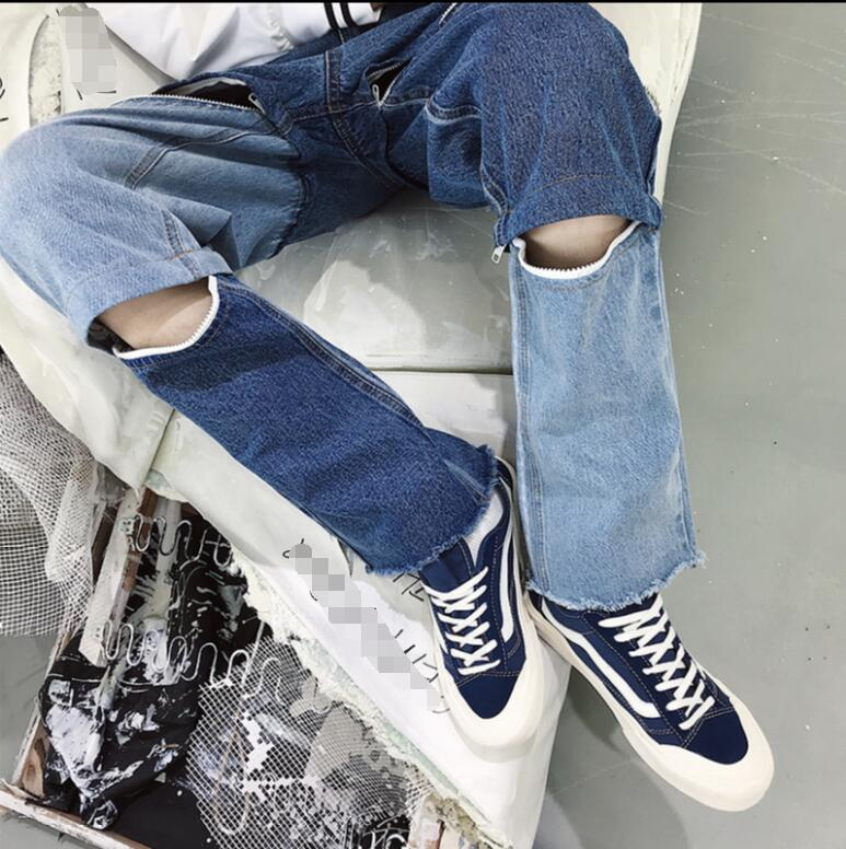 La Démonté Trous Jeans Zipper Individuelle Lâche Bleu À Droite Spliced Occasionnel Mode Les Et Peut Travers Être Pantalon Hommes BvYxyxqwgS