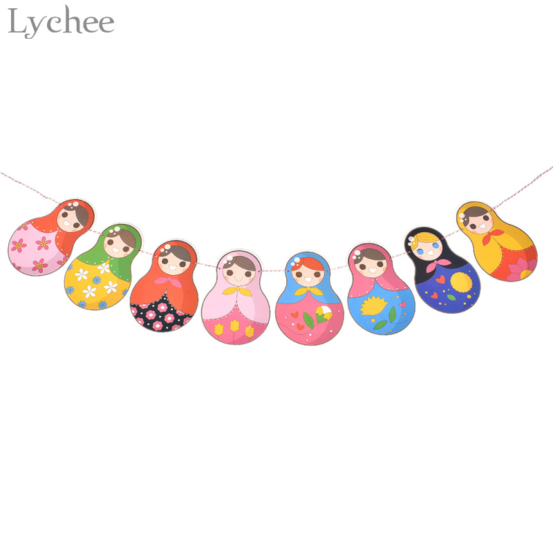 Lychee Paper Russian Doll Banner Matryoshka Bunting Garland Baby Shower Kids Birthday Party Decoration