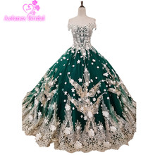 2018 New High-end Evening Dress Banquet Luxury Green Red Lace Appliques Beading Party Ball Gown Custom Formal Dresses