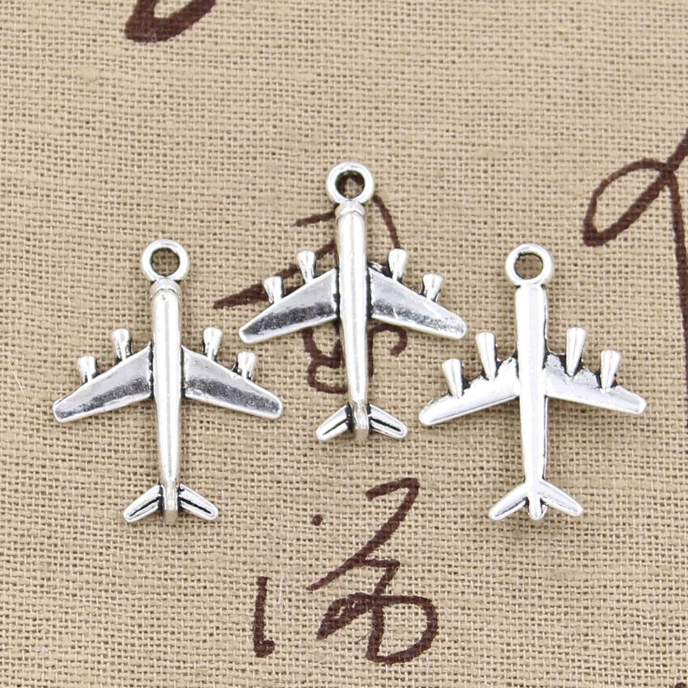SC830 BULK 40 Airplane Charms Antique Silver Tone 3D