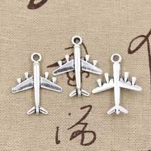 15 pçs encantos avião avião 27x21mm antigo bronze prata cor pingentes fazendo diy artesanal tibetano bronze prata cor jóias