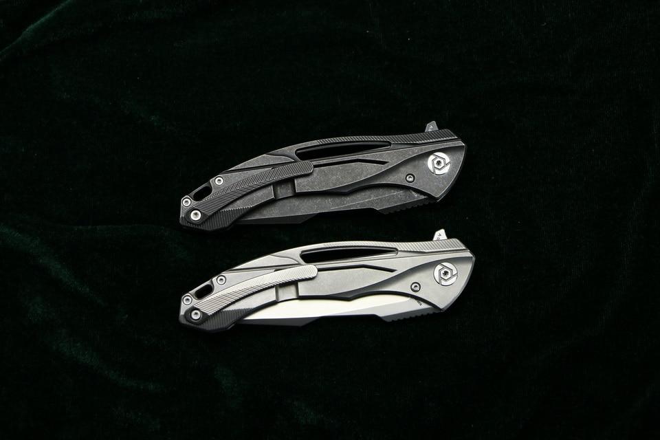 CH CH3519 Flipper folding knife s35vn blade carbon fiber Titanium handle outdoor camping hunting pocket fruit Knives EDC tool (11)