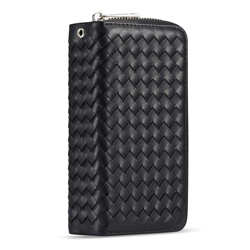 2 In 1 Multifunction Weave Leather Case For iPhone X XS XR XS Max Wallet Case Flip Zipper Women Lady Handbag For Capa iPhone XR in Wallet Cases from Cellphones Telecommunications