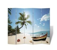 Decoration for home Fashion Hanging Screen Partition Divider Panel Room Curtain Home Beach Print Room Divider