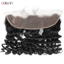 Lolly Brazilian Loose Wave Lace Frontal 13*4 Free Part Ear to Ear Pre Plucked Frontal Closure Non Remy Human Hair Frontal 1 PC