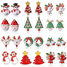 New Fashion Women Santa Claus Snowman lovely Tree Bell Christmas Jewelry Christmas Earring For Women Gifts EH043