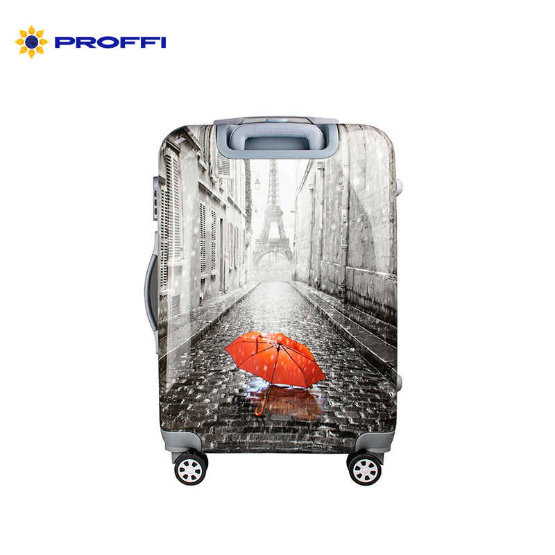 Fashionable suitcase with print PROFFI TRAVEL PH9209, M, plastic, medium, with combination lock on wheels [available from 10 11] black suitcase profi travel ph8865 m plastic with retractable handle on wheels