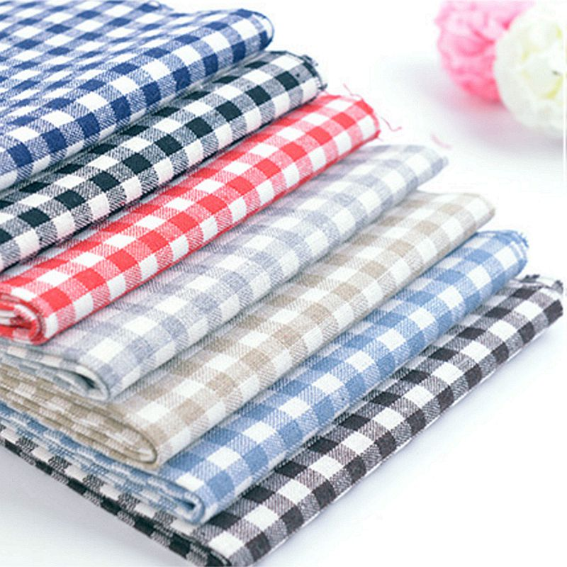 6.18 Xintianjihigh quality cotton polyester check fabric for t shirt and women shirt dress tablecloth 50*140cm/piece W300059
