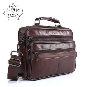 Image 2 - ZZNICK Men messenger bags luxury genuine leather men bag designer high quality shoulder bag casual zipper office bags for men