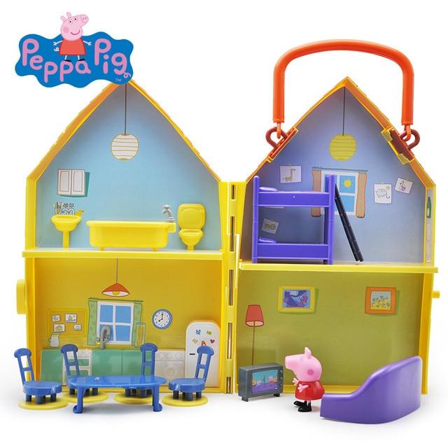 Peppa Brinquedos Porco Boneca Real Cena Casa Modelo Ação PVC figuras  Brinquedos Early Learning brinquedos Educativos