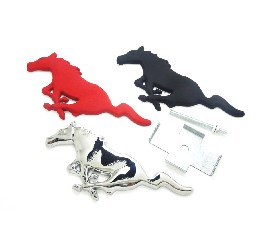3d silver horse logo metal alloy car auto front hood grille emblem sticker for ford mustang - Ford Mustang Logo Images