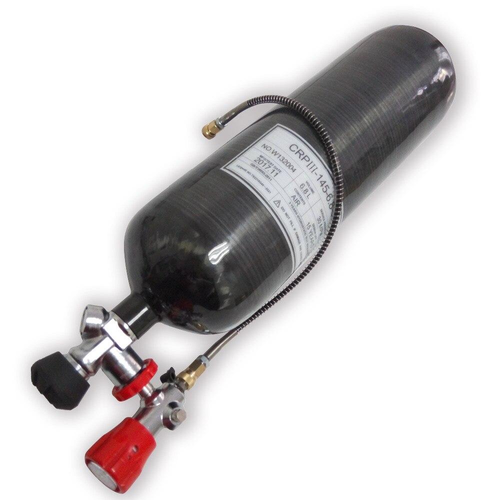 L'innovation 2018 Nouvelle Mise À Jour Noir 6.8L 60 minutes air bouteille & valve & station de remplissage PCP airsoft réservoir en fiber de carbone cylindre