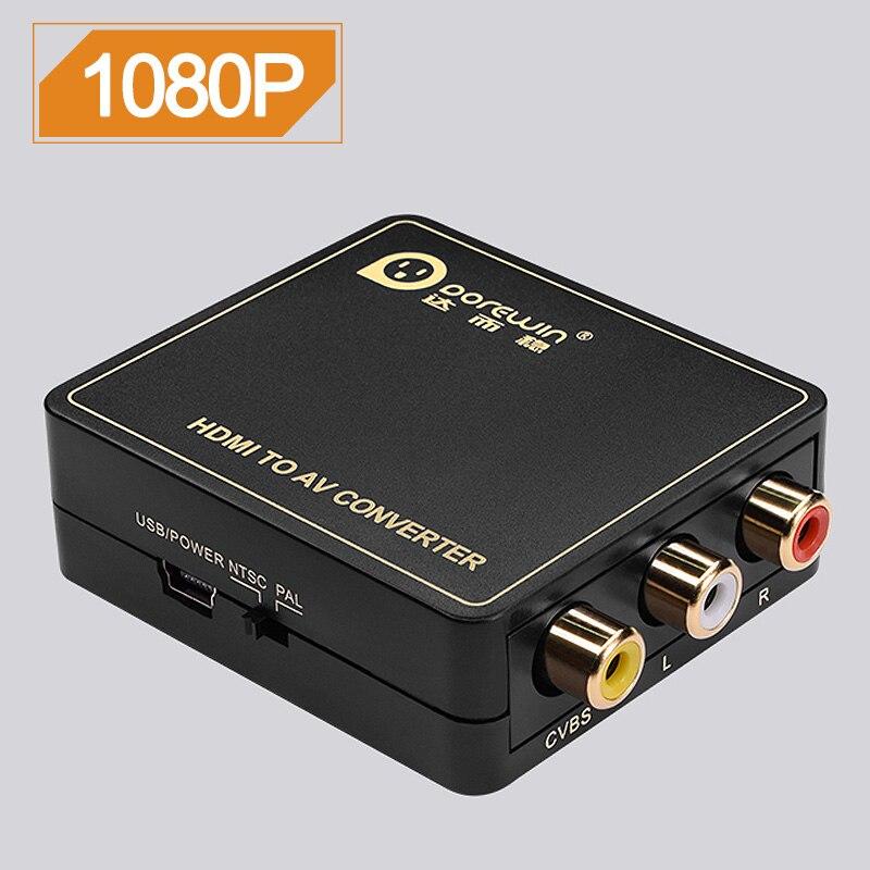 Dorewin HDMI to AV Converter HDMI to RCA Adapter for Older TV Smart Box Laptop Chromecast 1080P 720P 480P NTSC/PAL HDMI2AV Black mt viki hdmi to av converter digital to analog rca video adapter box high quality with pal ntsc switcher