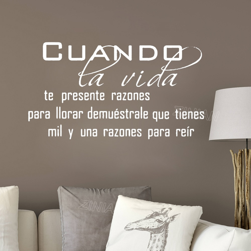 Cuando Spanish Language Wall Quote Decal Living Room Home Interior Decor Life Home Quotes Vinyl