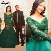 Великолепный зеленый длиной до пола с аппликацией Длинные рукава Русалка вечернее платье с длинным Для женщин вечерние платья знаменитост