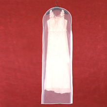 Double sided Transparent Tulle Crystal Yarn Wedding Bridal Dress Dust Cover with Zipper for Home Wardrobe Gown Storage Bag AC018