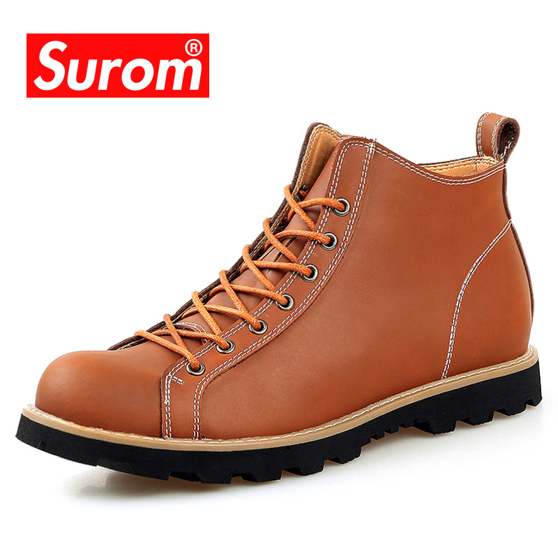SUROM Genuine Leather Men's Motorcycle Boots Lace up Round Toe Male Ankle Boots For Man Autumn Winter New Quality Martin Shoes цены онлайн