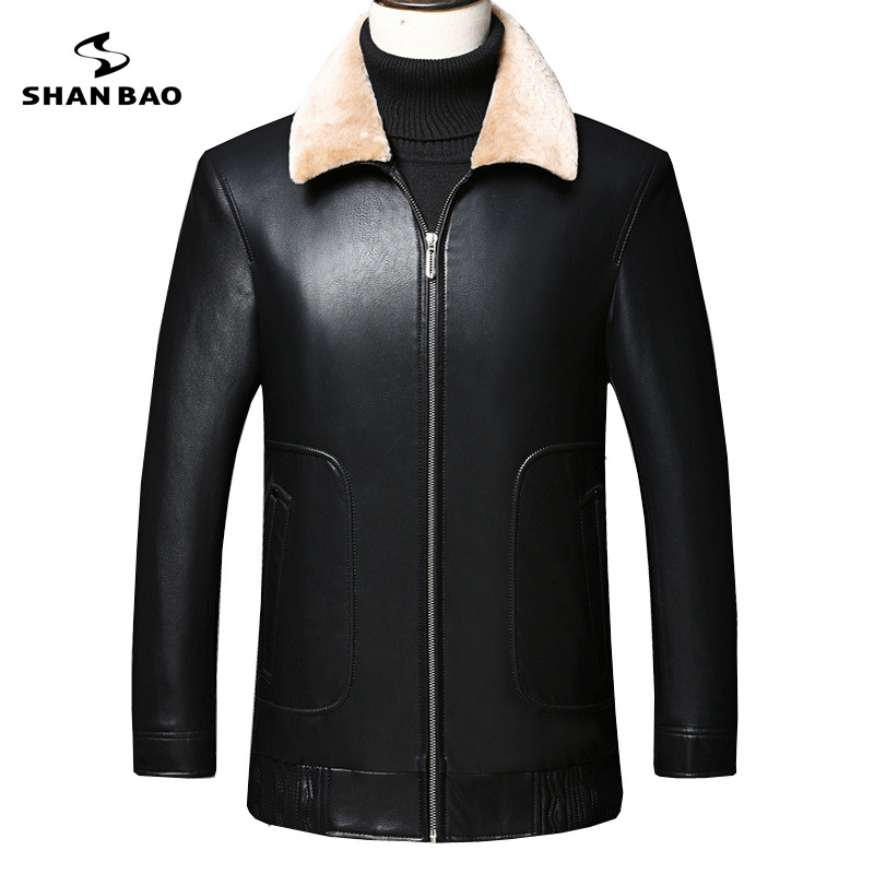 2018 winter comfortable fur collar thick warm fashion lapel down leather jacket casual luxury high quality men's coat jacket
