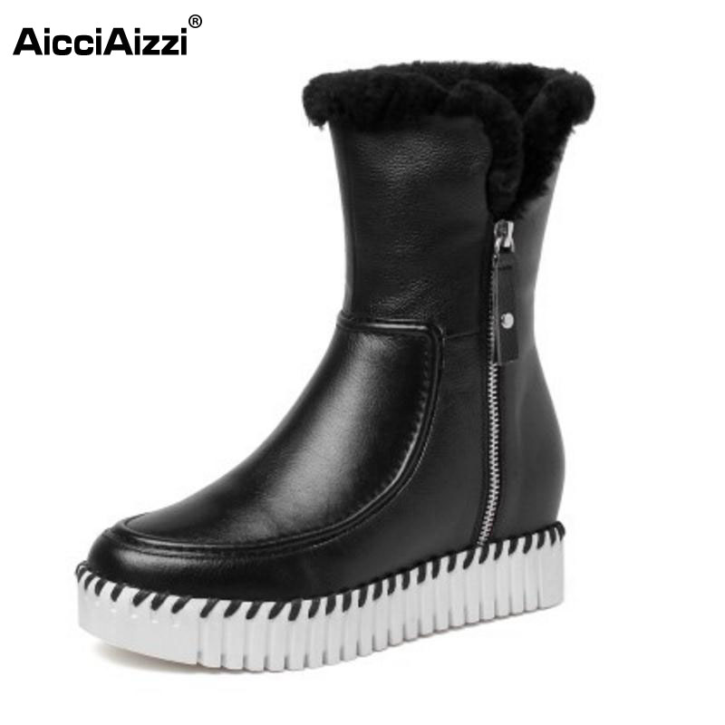 AicciAizzi Cold Winter Boots Women Real Leather Thick Fur Inside Mid Calf Winter Boots Women Thick Platform Shoes Size 34-39 stylish women s mid calf boots with solid color and fringe design