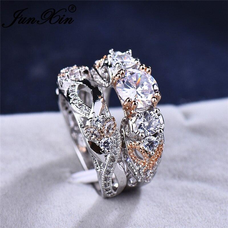 JUNXIN Vintage Butterfly Flower Double Ring Sets For Women