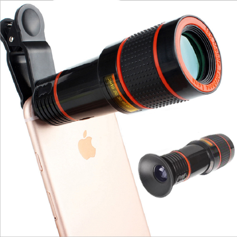 8X 12X Zoom Telephoto Lens 4K HD Monocular Telescope Phone Camera Lens for IPhone Xs Max XR X 8 7 Plus Samsung Xiaomi Smartphone image