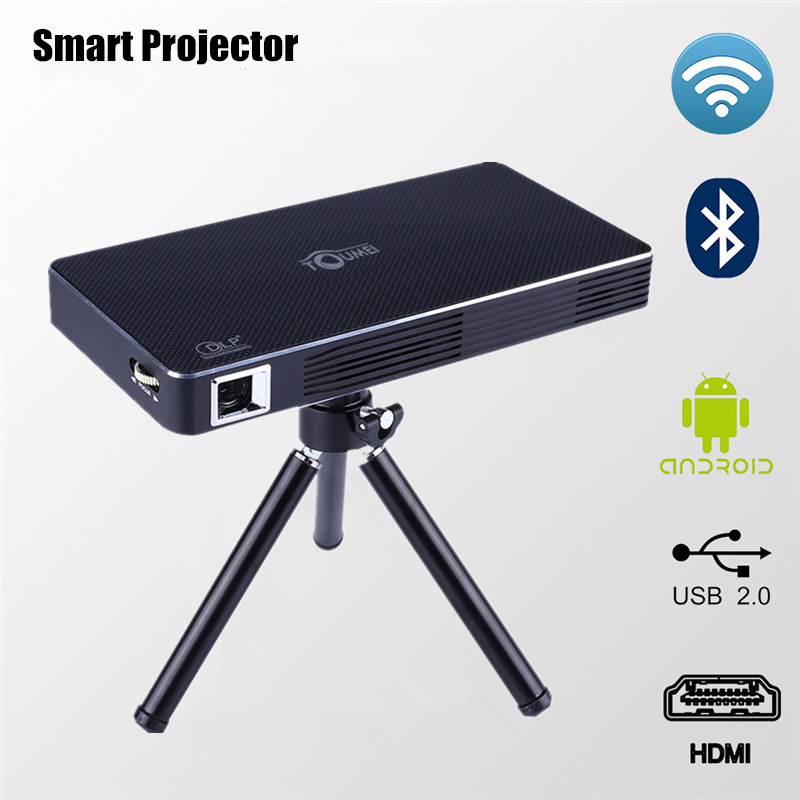 Toumei android 4 4 mini wifi led projector smart bluetooth 4 0 dlp hd projectors with hdmi in for Small bluetooth projector