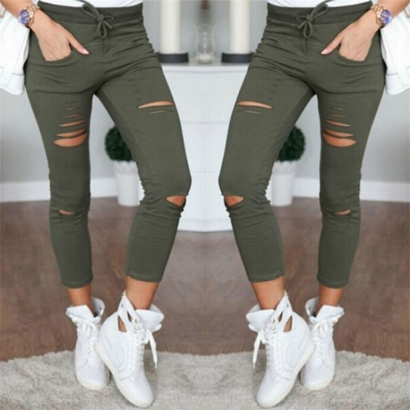 Women Pants Pencil Trousers Skinny Stretch Pants For Women Ladies Female Slim Trousers New Fashion Spring Autumn Hole Sweatpants