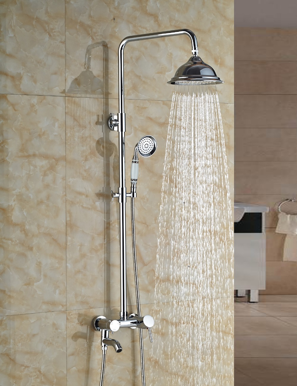 Wholesale And Retail Wall Mounted Chrome Finish Brass Bathroom Rain Shower Faucet Tub Spout Mixer Tap W/ Hand Shower wholesale and retail polished chrome brass waterfall spout bathroom tub faucet w hand shower sprayer mixer tap