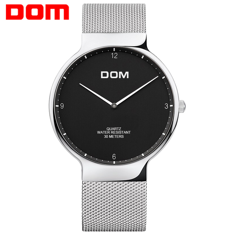 DOM Men Quartz Watch Men's Quartz Stainless Steel Clock Fashion Waterproof Wrist Watch Big Dial Watch Reloj Hombre M-32D-1MS