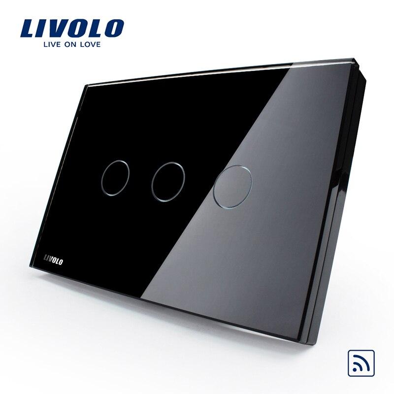 Interrupteur mural Livolo, panneau en verre de cristal de perle noire, VL-C303R-82, commutateur de lumière d'écran tactile à distance sans fil US/AU indicateur LED