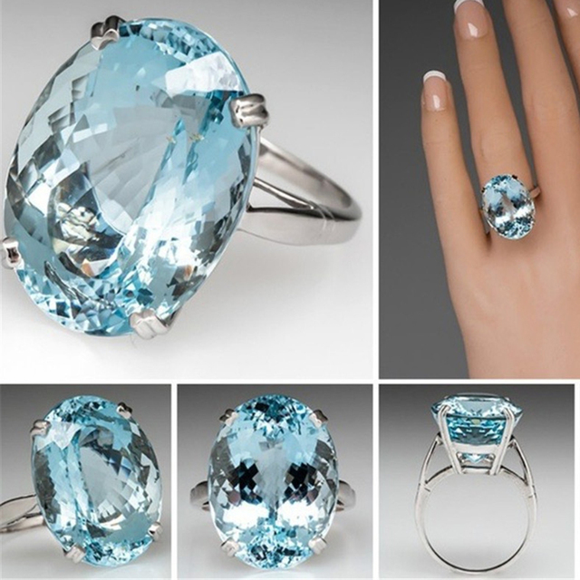 Big CZ Blue Stone for Women Fashion Engagement Party Promise Ring Jewelry
