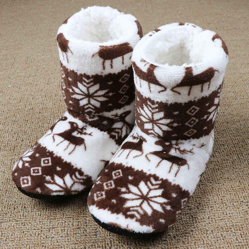 Kış ayakkabı kadın ev yarım çizmeler noel kapalı çorap çizmeler sıcak bayanlar pamuk kürk ayakkabı peluş botas mujer invierno 2020