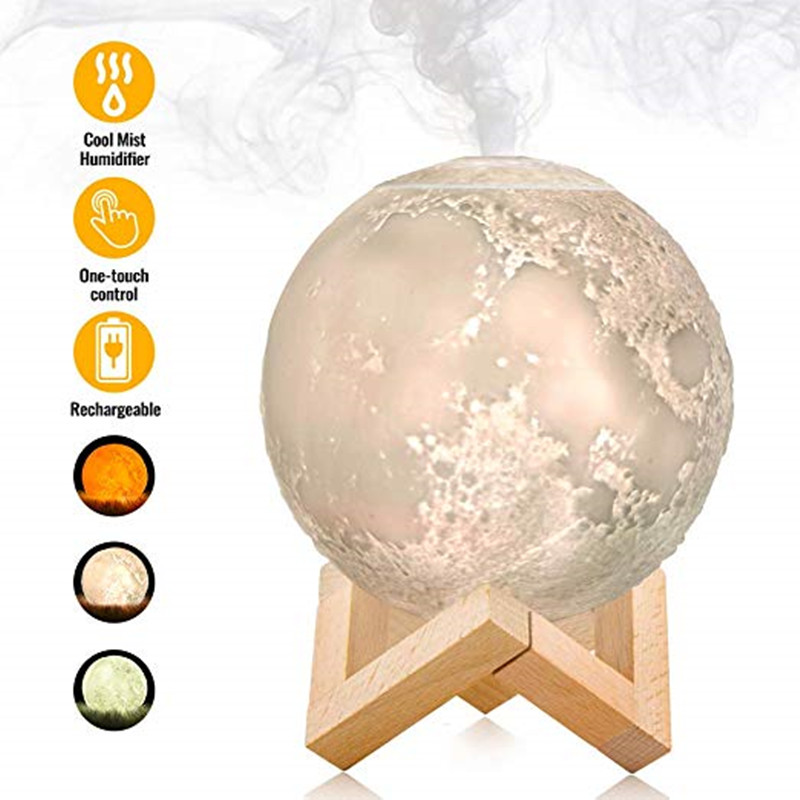 Aroma Diffuser Ultrasonic Essential Oil  880ml Air USB Humidifier Full Moon Lamp Night Light  Night Cool Mist Purifier For  Offi