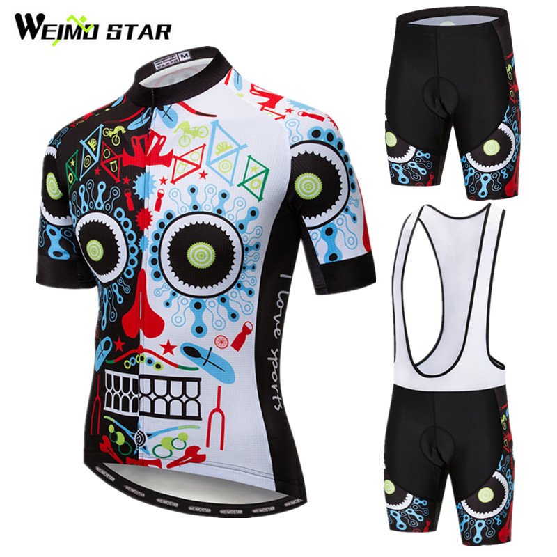 Weimostar Summer Cycling Jersey Set Men Skull <font><b>Bike</b></font> Clothing Breathable Bicycle <font><b>Wear</b></font> Ropa Ciclismo Short Sleeve Cycling Clothing image