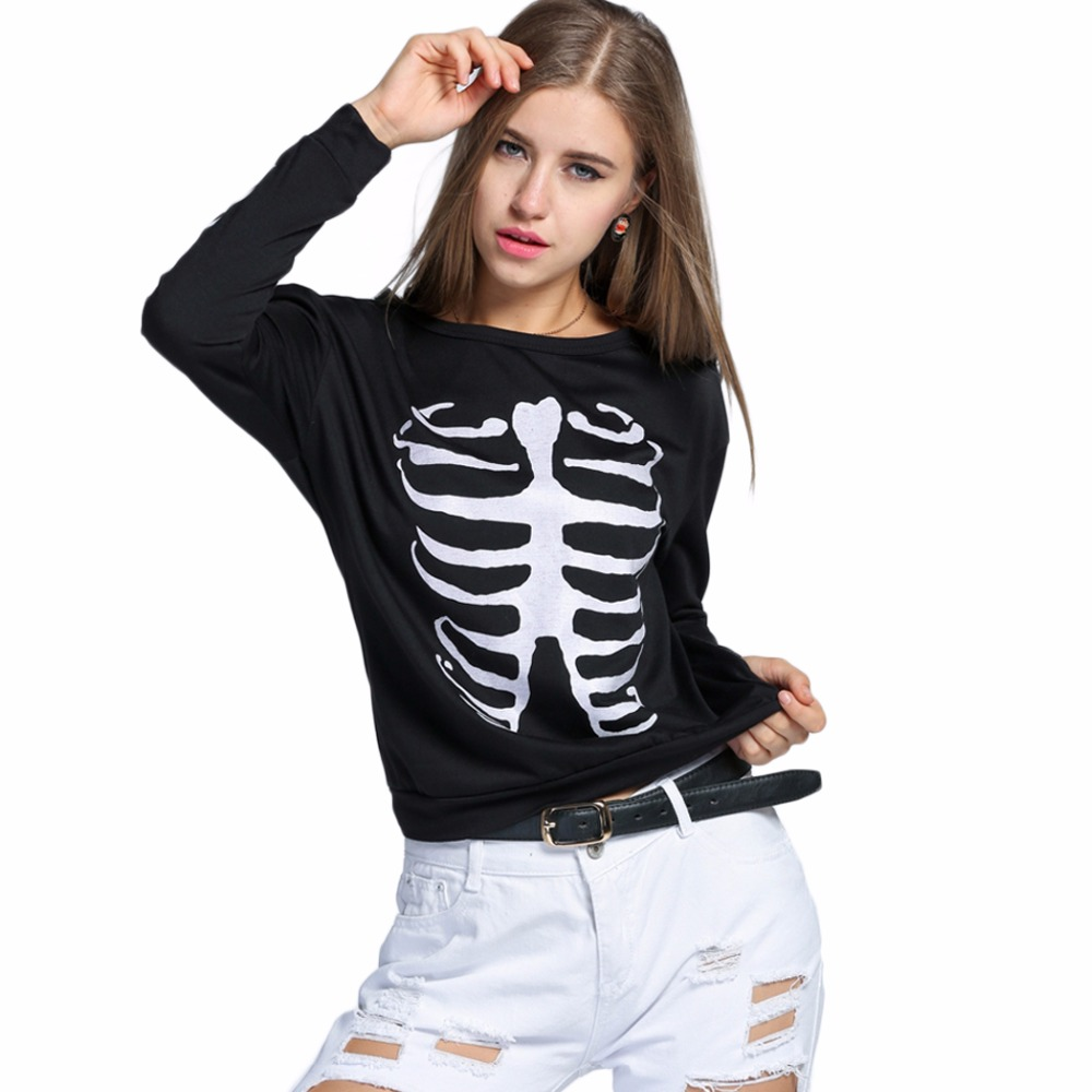 cc1d9b518af Sexy Long Sleeve Spring Autumn Hipster Women T-shirt Female Top Punk Rock  Funny T shirt Bone Skull Clothing Goth Tee Femme 2016