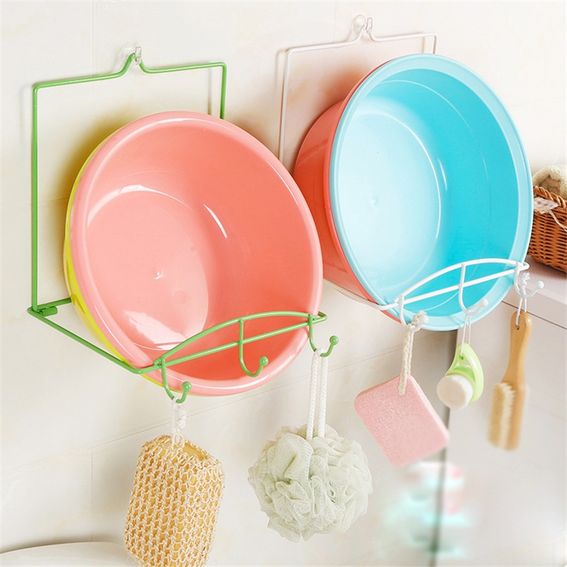 1Pc Useful Foldable Strong Sucker Wall Hanging Storage Rack Washbasin Shelve ...
