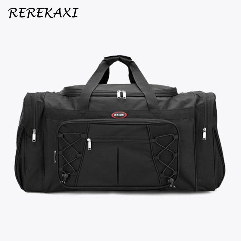 REREKAXI Large Capacity Men's Travel Bag Women's Waterproof Polyester Hand Luggage Bag Male Travel Duffle Bags Packing Cubes