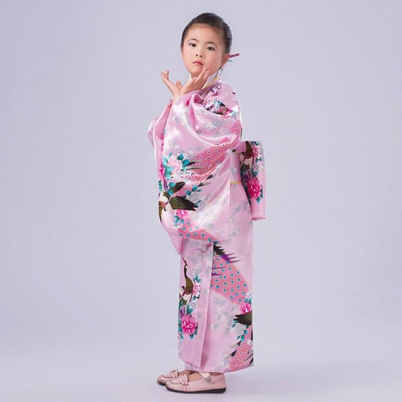 332c88fd43 Novelty Pink Japanese Baby Girl Kimono Gown Children Yukata With Obi Kid  Performance Dance Dress Child Cosplay Costume NK025