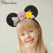 Cheer Bow Hair Accessories Summer Floral Headband For Girls Mouse Ears Hairband Women Headbands Kids Holiday Flower Band