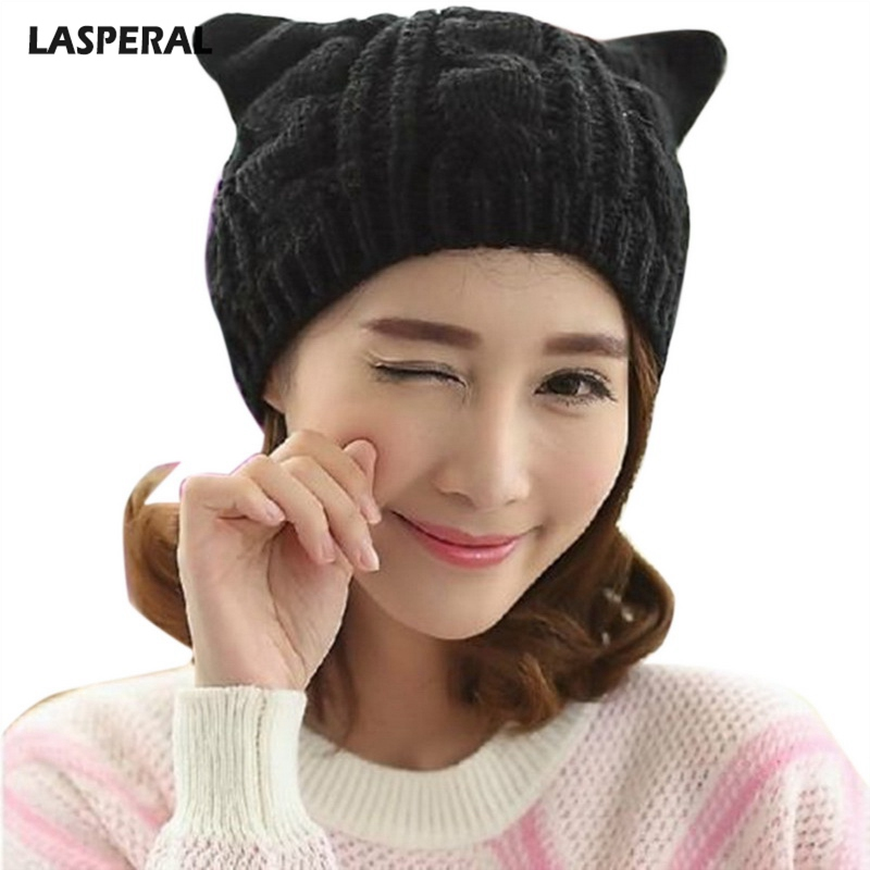 LASPERAL Knitted   Skullies     Beanies   Lady Girls Cute Winter Wool Caps Lovely Cat Ears Hat Women   Beanie   Solid Color Warm Hip-hop Cap