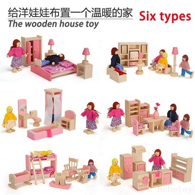 Holz Rosa Miniatur Puppenhaus Mobel Kinder Spielzeug Set