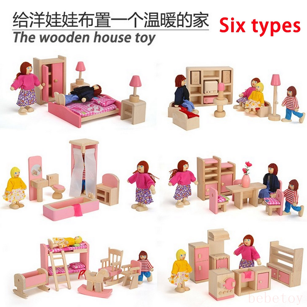 Kids Bedroom Furniture Kids Wooden Toys Online: Wooden Pink Miniature Dollhouse Furniture Kids Toys Set
