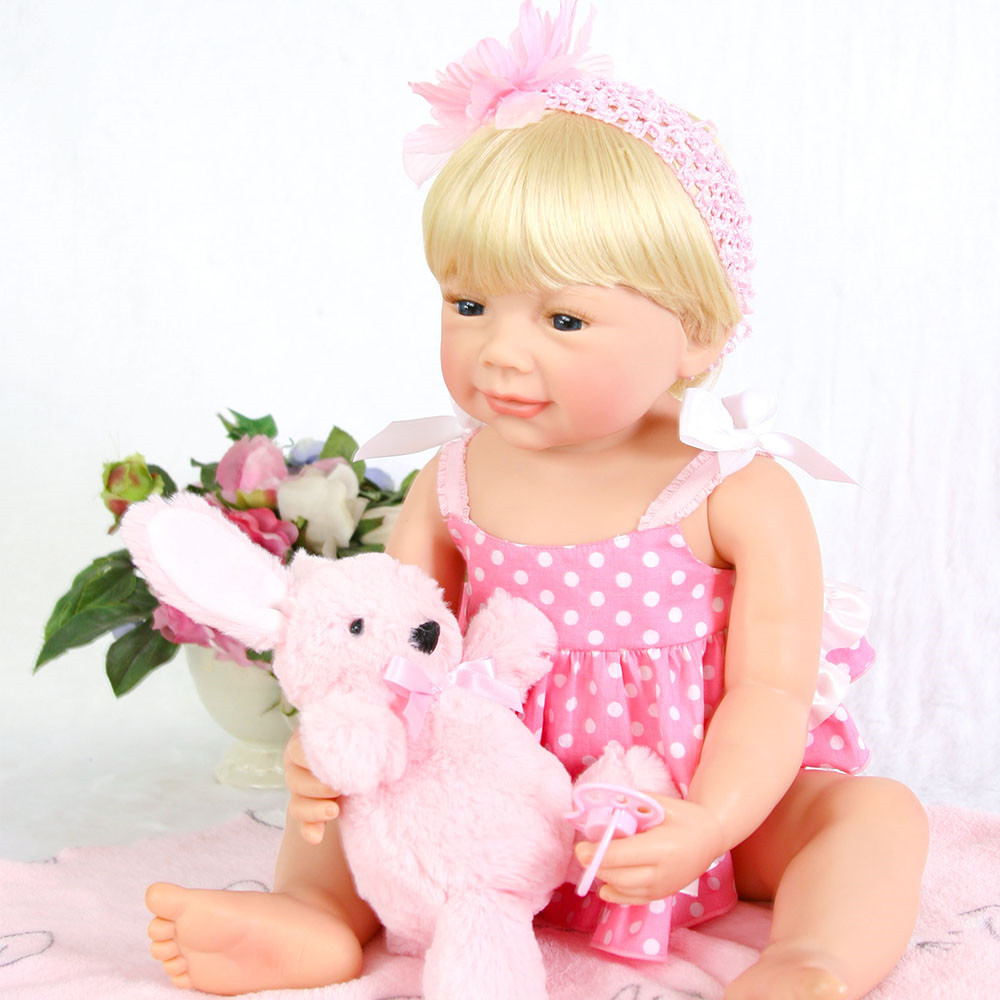 silicone reborn baby girl dolls 22 blonde fake baby reborn babies with pink pacifier for children gift toys bebe gift reborn Easilicone reborn baby girl dolls 22 blonde fake baby reborn babies with pink pacifier for children gift toys bebe gift reborn Ea