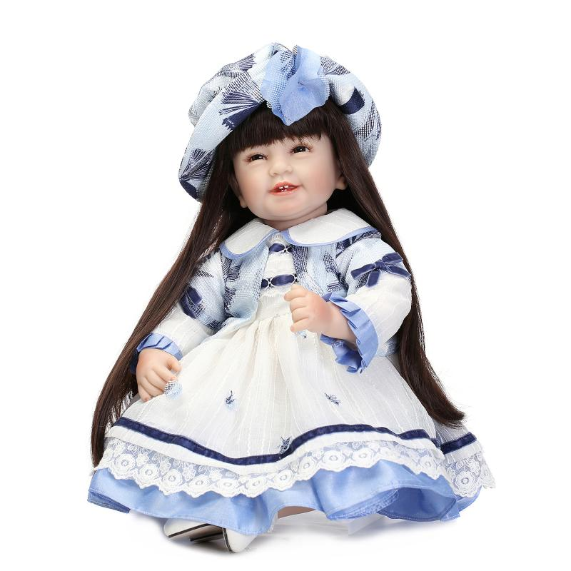 55CM Silicone Reborn Baby Doll Girls Toys Long Hair Princess Doll Toddler Doll Lifelike Newborn Baby Doll Soft Vinyl Toys Gifts npk brand doll reborn long brown hair princess baby dolls soft silicone toddler girls toys boneca reborn realista