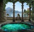 Meerjungfrau Burg Pool märchen Enchanted Toskana Como spalte Prinzessin kulissen Computer druck wand hintergrund|Hintergrund|   -