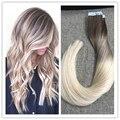 Полный Блеск Выметания Ленточное Наращивание Волос Блондинка Ombre Выметание цвет #3 Прозрачный #8 и #613 Уток Кожи Клей Волос расширения